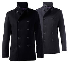 Mens New Dreamweaver Classic Military Wool Double Breasted Pea Coat Invincible