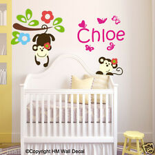 PERSONALISED NAME & MONKEY,BRANCH,BUTTERLIES  Wall Sticker for Nursery,Kids room