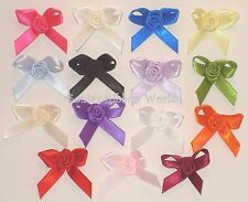 3MM SATIN RIBBON ROSE BOWS - 15 COLOURS - PACKETS OF 10, 25, 50 AND 100