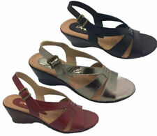 Ladies Shoes Leather MG Fern Sandals Black Red Or Pewter Wedge Shoe Size 5-10