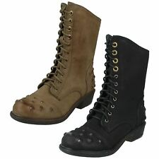 SALE Ladies spot on military style boots F50173