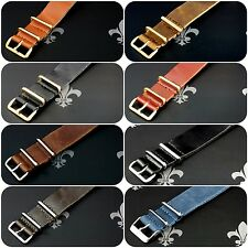 Leather Watch Strap Band Wrap Military 4 Ring S/S & PVD Many Colours & Sizes
