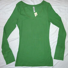 Womens T-shirt top Long Sleeve brand new Size 6 - 22 Green with Thumb hole