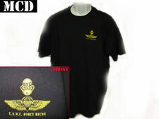 USMC FORCE RECON T-SHIRT/ BLACK/ front print only/ MARINE COMBAT DIVER BADGE