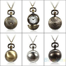 Retro Ball Metal Steampunk Quartz Necklace Pendant Chain Small Pocket Watch BD4U