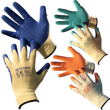 12 X PAIRS QUALITY BUILDERS LATEX WORK GLOVES GARDENING PROTECTIVE CONSTRUCTION