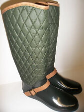Women's Sperry Top Sider Hingham Rain Boots Green/Tan  Quilted Wool Size 11