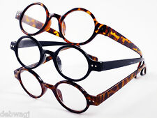 ROUND FRAME +1 +1.5 +2 +2.5 +3 Designer READING GLASSES Tortoiseshell Black NEW!
