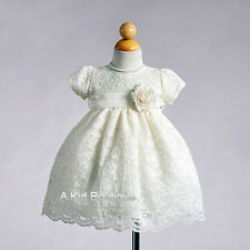 New Flower Girl Stuning Lace Ivory Dress Christening Dedication Communion