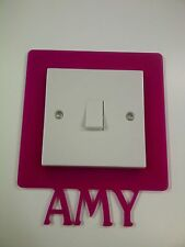 PERSPEX LIGHT SWITCH SURROUND COLOUR ACRYLIC CHILDREN NAMES NOVELTY FINGER PLATE