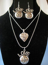 Volleyball Metal Jewelery I LOVE HEART Etched Charm necklace earrings ball chain