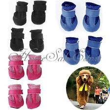 4Pcs Winter Warm Adjustable Pet Dog Puppy Mesh Shoes Holes Boot Apparel 4 Sizes