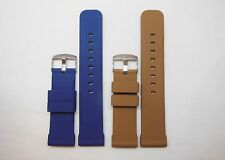 Replacement Silicon Watch Band for Invicta, Michele Brown Blue 24mm Stainless
