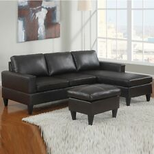 3PC Small Room Sectional Microfiber Faux Leather Couch Sofa Set 10 Color Options
