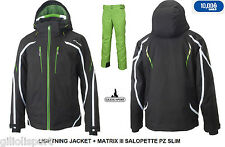 PHENIX LIGHTNING JACKET + MATRIX SALOPETTE Completo Sci uomo SKI SET BK-Y.GREE