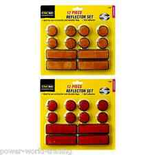 12 PIECE SET OF SELF ADHESIVE REFLECTOR SET BIKE BICYCLE CAR YELLOW RED NEW