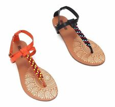 Selena Gomez Dream Out Loud Womens Gladiator T Strap Thong Beaded Sandals Shoes