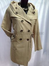 Womens Lightweight Beige Double Breasted Fashion Mac Trench Coat 12 16 UK
