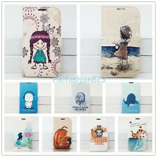 Cartoon Flip Leather Wallet Case Card Holder Back Cover Stand For Samsung Apple