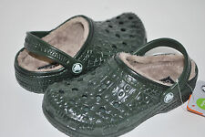 NWT CROCS CROCSKIN LINED FOREST GREEN CLASSIC KIDS 6/7 8/9 10/11 12/13 1 shoes