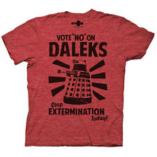 Doctor Who Vote No On Daleks Heathered Red Adult T-Shirt