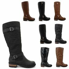 WOMENS LEATHER LOOK MID CALF KNEE FASHION RIDING BOOTS ZIP UP LADIES SHOES SIZE
