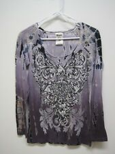 tie dye purple shirt top crystal cowgirl stones western Vocal long sleeve bling