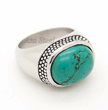 Natural Oval Turquoise Gemstone Stainless Steel Ring Size 9,10,11, 12