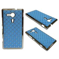 RHINESTONE DIAMANTE GEM HARD BACK CASE IN LIGHT BLUE SONY XPERIA SP M35H C5302