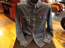 Genuine Indian Motorcycle Men's Denim Shirt Embroidered logo on front and back