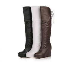 Wedge Platform Womens Ladies Sexy Knee High Heels Boots Lace Up Shoes YB844