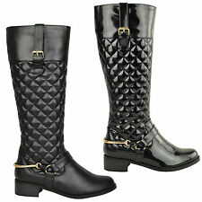 WOMENS LADIES FLAT LOW HEEL KNEE HIGH MID CALF WINTER RIDING ZIP UP BOOTS SIZE