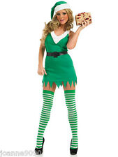 SEXY LADIES FLIRTY ELF HELPER CHRISTMAS PARTY FANCY DRESS XMAS COSTUME WITH HAT