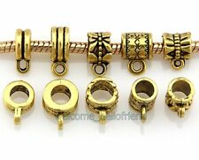 Free Ship 50 Antique Gold Plated Bails Beads Fit Charm Bracelet JH05