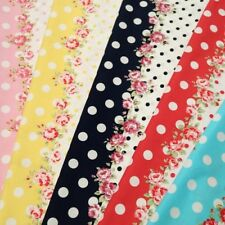 Flowers And Polka Dot Stripes Floral Cotton Poplin Fabric