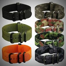 Premium 22mm 5Rings PVD Solid G10 Military Army Nylon Fabric Watch Band Strap US