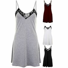 Women's V Neck Casual Lace Thin Strap Loungewear Flare Top Ladies Dress 8-14