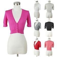 Womens Short Sleeve Bolero Shrug V Neck Button Down Fine Knit Crop Cardigan Cute