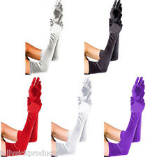 Pair Women Arm Long Satin Finger Elbow Gloves Evening Party Bridal Wedding Opera
