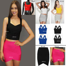 S01# New Ladies Slim Bandage Bodycon Stretch Mini Party casual Dress/Top/Skirt