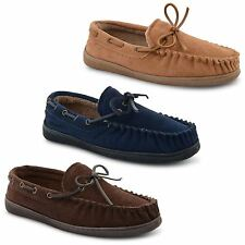 New Mens Genuine Suede Soft Fleecy Lined Flat Winter Moccasin Slippers UK 6-12