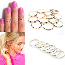 URBAN GOLD/SILVER STACK PLAIN ABOVE KNUCKLE RING BAND MIDI RING 10PCS/5PCS SET