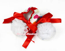 Infant Newborn Red Rainbow Hearts Ribbon Baby Crib Shoes & White Rosettes NB-18M
