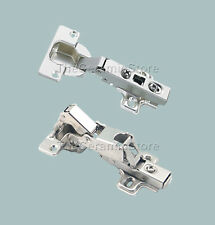 A PAIR SOFT CLOSE 170 or 100 degree KITCHEN CABINET DOOR HINGE CLIP ON INC PLATE