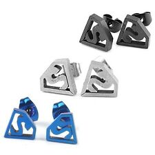 New Stainless Steel Novelty Superman Logo Earring Studs One Pair Choose Colour