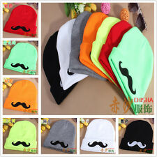 FREE NEW Mustache Embroidery Beanies rolled edge knitting wool cap hats 4color