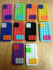 3D Brick Block (Lego Style) High Impact Rubber Case Cover For iPhone 4 4S  and 5