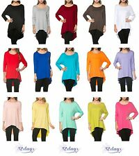 WOMEN HIGH & LOW STYLE SOLID 3/4 SLEEVE TOP - MADE IN USA (MORE COLORS)