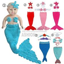 3PC Crochet Baby Mermaid Costume Infant Knit Photo Props Headband Top Tail 0-12M