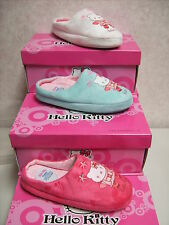 GIRLS HELLO KITTY SYNTHETIC  SLIPPERS PINK WHITE BLUE SIZE UK1-2